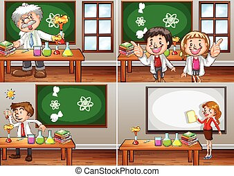 Science classrooms with teachers