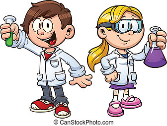 Scientist kids. Vector clip art illustration with simple gradients. Each on a separate layer.