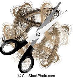 Scissor and hair