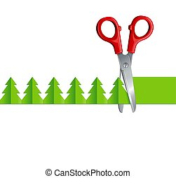 scissors cut Christmas tree