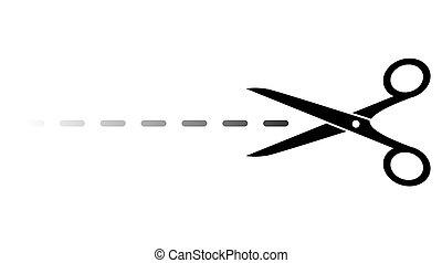 scissors with vanishing line cut