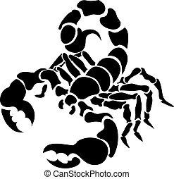 Monochrome vector illustration of a stylised scorpion