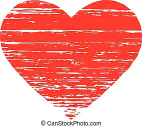 Scrached REd heart. Vector graphic