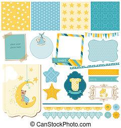 Scrapbook Baby Bear Set - for design - in vector