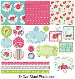 Scrapbook Design Elements - Rose Flowers in vector