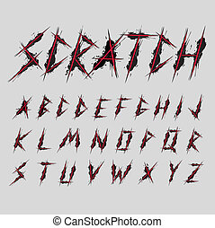 Scratch font typeface vector