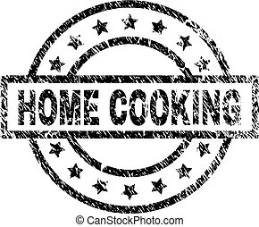 Scratched Textured HOME COOKING Stamp Seal