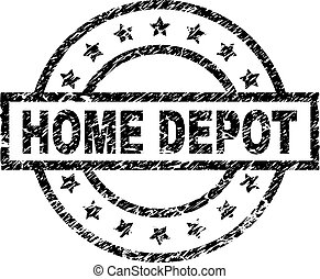Scratched Textured HOME DEPOT Stamp Seal