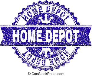 Scratched Textured HOME DEPOT Stamp Seal with Ribbon