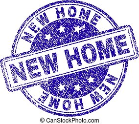 Scratched Textured NEW HOME Stamp Seal