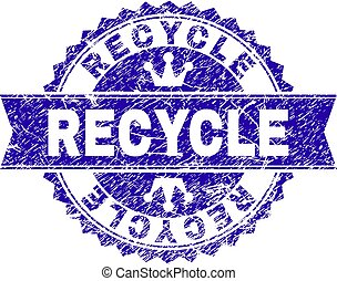 Scratched Textured RECYCLE Stamp Seal with Ribbon