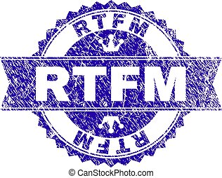 Scratched Textured RTFM Stamp Seal with Ribbon