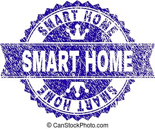 Scratched Textured SMART HOME Stamp Seal with Ribbon