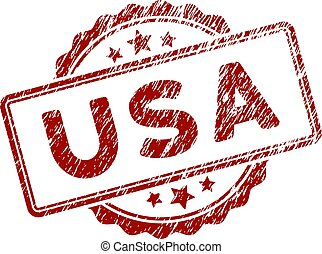 Scratched Textured USA Text Stamp Seal