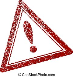 Scratched Textured Warning Triangle Stamp Seal