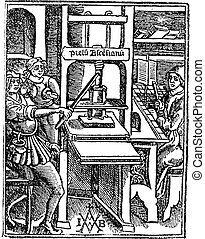 Screw press, vintage engraving. Old engraved illustration of Screw press with three workers working on it.