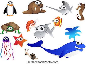 sea animals, vector of ocean life