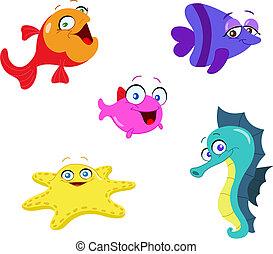 Cute cartoon sea creatures