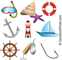 Set of 9 sea related vector icons