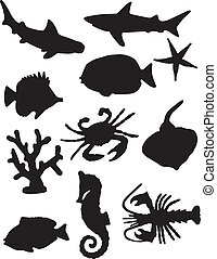 A vector illustration of some sea life silhouettes set against a white background.