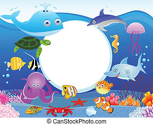 Sea life with blank sign