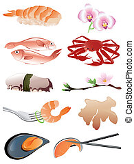 seafood and other traditional japanese food icons