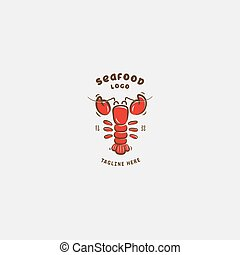Seafood restaurant, lobster logo vector design
