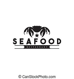 Seafood restaurant logo design vector template with crab icon