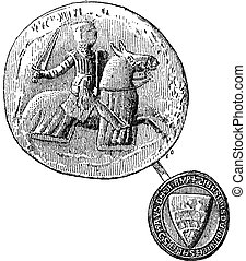 Seal against seal, Jean, Sire de Joinville died in 1317, vintage engraved illustration. Dictionary of words and things - Larive and Fleury - 1895.