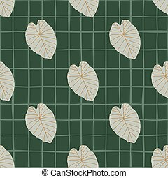 Seamless abstract pattern with outline leaves shapes. Contoured foliage grey silhouettes on green chequered background.