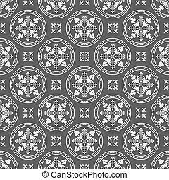 Seamless Antique Floral Elements Dark Pattern