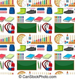 Seamless background design with school items