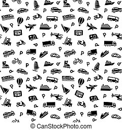 Seamless background, transport icons, wallpaper, wrapping paper