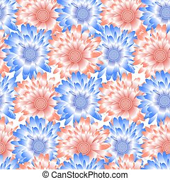 Seamless background with blue and pink flowers gerberas