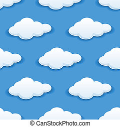 Seamless background pattern of white fluffy clouds in blue sky suitable for children's wallpapers, tiles, textile and design backgrounds in square format