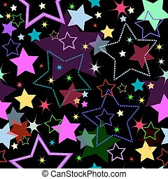 Black seamless background with blue, pink, green and yellow stars (vector)