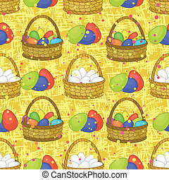 Seamless, basket with Easter eggs