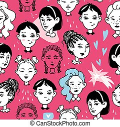 Seamless black on white with young women on a pink background. Avatars hand drawn doodle multicultural diverse female faces. Girly vector stock illustration in cartoon style.