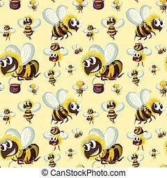 Seamless bumble bee pattern