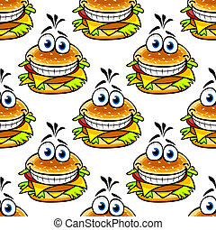 Seamless cartoon cheeseburger pattern with a double helping of cheese and a large toothy smile in a repeat motif