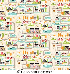 Seamless patter of cartoon downtown illustration in flat line style