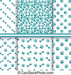 Seamless cat animal patterns of paw footprint
