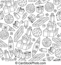 Seamless christmas gifts pattern in doodle style. Hand drawn