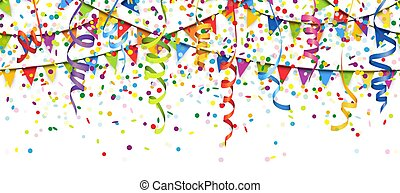 seamless colored confetti, streamers and garlands background