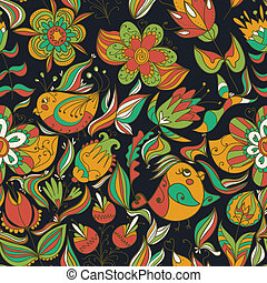 Seamless dark floral pattern with birds