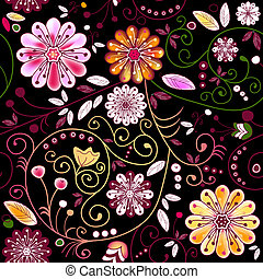 Seamless dark floral pattern