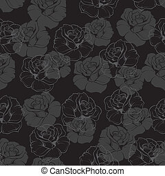 Seamless dark floral vector pattern