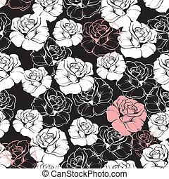Seamless dark floral vector pattern
