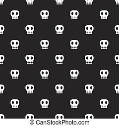 Seamless dark pattern with skulls black background