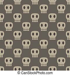 Seamless dark pattern with skulls gray background